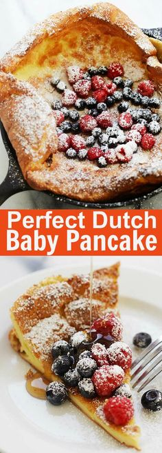 Easy Dutch Baby with 5 ingredients and 5 mins prep time. The best Dutch Baby pancake recipe made in a cast-iron skillet, serve it sweet or savory. Dutch Pancakes, Baby Pancakes, Dutch Baby Pancake, Pancakes Easy, Pancake Cake, Pancake Muffins, Baby Food Recipes, Dessert Recipes, Cooking Recipes