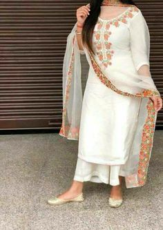 """""""Majajjan Boutique"""" Khanna (PB) India White Palazzo suit Style of Suit: Palazzo suits Wash Care: Dry Clean Call us: 9888511724 Address: Near Dashmesh Hospital, Samrala Road, Khanna. Dress Indian Style, Indian Fashion Dresses, Indian Outfits, Indian Wear, Pakistani Fashion Party Wear, Punjabi Fashion, Pakistani Dresses Casual, Patiala Suit Designs, Kurti Designs Party Wear"""