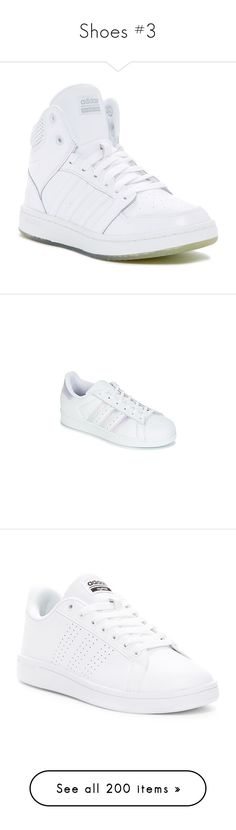 """""""Shoes #3"""" by ultimateginger ❤ liked on Polyvore featuring shoes, sneakers, white leather shoes, adidas shoes, rubber sole shoes, striped sneakers, leather sneakers, adidas, round cap and laced sneakers"""