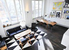 black & white living room rug
