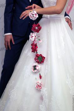 Свадебный букет -браслет - фуксия, букет невесты, струны, свадебные аксессуары, свадьба
