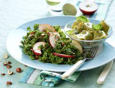 Tortellini med spinatfyld og grønkålssalat Lækker ret uden kød fra Familie Journals Slankeklub