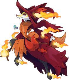 Delphox: Mega Evolution Species: Fox Pokémon Type: Fire/Ghost (Mega Evolution only) Pokemon Legal, Pokemon Fake, Mega Pokemon, Pokemon Memes, Pokemon Fan Art, Pokemon Sun, Pokemon Fusion, Pokemon Cards, Pokemon Pokedex