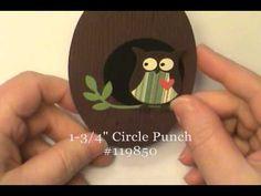 Gate Fold Latch Owl Card w/Stampin' Up! Scallop Oval Frame - Dawn O
