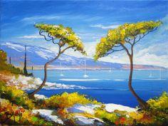 Paysage Bord de mer par l'artiste peintre BRUNI - 3676