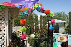 Fiesta. Mexican Tissue Flowers. Colorful Mexican decoration for Fiesta!