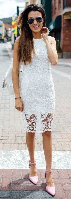 #spring #trends #fashionistas #outfitideas |White Lace Midi Dress + Pink Heels |Hello Fashion