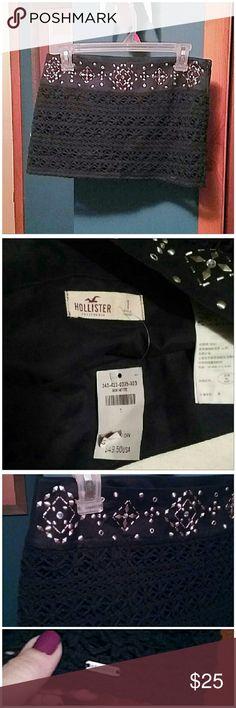Hollister dark blue knit mini skirt Brand new with tags.  Zipper on the side. Hollister Skirts Mini