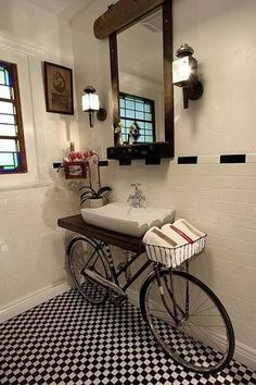 Eclectic Powder Room with American olean starting line white gloss ceramic wall tile, Upcycle, Standard height, Wood counters