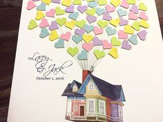 Movie Up inspired Wedding Guestbook alternative, guest book poster, flying house with balloons, Disney Wedding, Wood Guest Book Print Wedding Pins, Wedding Frames, Wedding Book, Diy Wedding, Dream Wedding, Up Pixar, Up House With Balloons, Bon Voyage Party, Traditional Books