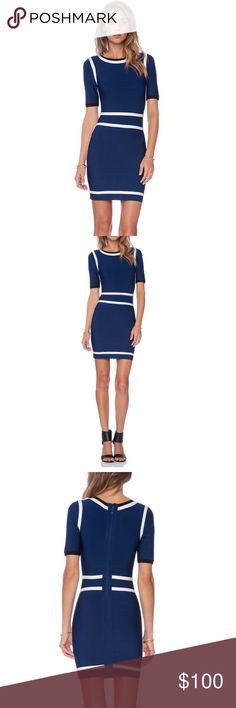 NWT Asilio bodycon dress revolve cocktail designer Immaculate white trim frames a figure-flattering half-sleeve dress in a rich royal-blue navy hue. Chic, contemporary style. Back zip closure. 90% rayon, 9% nylon, 1% spandex. Dry clean. By Asilio; imported.  Size small.  New With Tags. Bought from revolveclothing.com for $200. Asilio Dresses