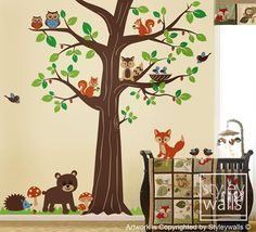 Woodland Animals Wall decal Forest Animal Friends Huge Tree Decal Owls Birds Nursery Vinyl Wall Decal Sticker Children Baby Room Wall Decal via Etsy