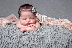 Gray and Pink, newborn girl, #jenniferteskerphotography