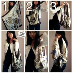 The 98th way to tie a silk scarf (I know, almost 100, c r a z y) is the glorious Nippon Furoshiki Inspired Handbag. Like yesterday's tutorial, you're going to tie individual knots at each of two corners of your carre that are diagonally opposite to each other. Now tie the two remaining corners together in a secure overhand knot and you get a cute handbag with hanging out ish tassels! Perfect for lugging around Christmas presents.