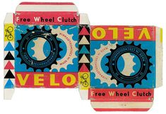 Packaging for Velo Free Wheel Clutch bicycle parts in a box, c. discovered via Made in Czechoslovakia, via goenetix) in Packaging Vintage Packaging, Vintage Branding, Packaging Design, Pretty Packaging, Product Packaging, Packaging Ideas, Retro Advertising, Vintage Advertisements, Vintage Typography