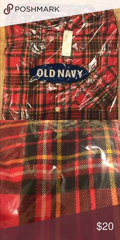 Old Navy Flannel NWT Never worn. Red tartan pattern flannel from Old Navy. Original packaging. Women's Medium Old Navy Tops Button Down Shirts