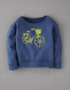 "Super comfy, ""slouchy fit"" sweatshirt.  From mini Boden, sizes 2-10.  Also with running shoe (pink) or sailboat (red) graphics."