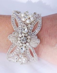 bridal bracelet hand beaded bracelet wedding by BridesBoutik, $120.83