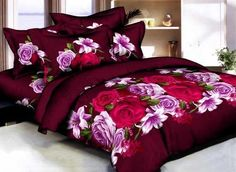 Rose and Lily Printed Burgundy Cotton Duvet Cover Sets 3d Bedding Sets, Matching Bedding And Curtains, Bedding Sets Online, Luxury Bedding Sets, Grey Duvet Set, White Duvet Covers, Duvet Cover Sets, Purple Bedding, Black Bedding