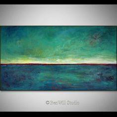 TURQUOISE Art Abstract Expressionist Contemporary Art ORIGINAL Painting - Turquoise Red HORIZON - 54x30 by BenWill