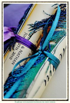 TIFFANY Vintage Style Wedding Menu / Favor Scroll in Gold Deep Purple and Teals