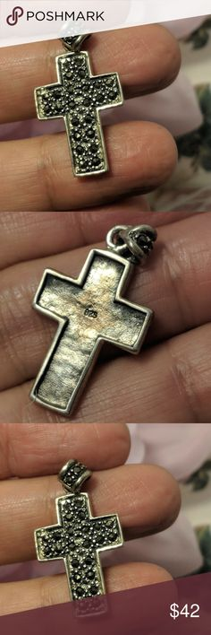 Vintage Sterling Silver Marcasite Cross Pendant Vintage Sterling Silver Marcasite Cross Pendant   Stamped 925. All real stones and genuine sterling silver. Gorgeous design. No missing stones. Approx. 1 and 1/8 inches long. So gorgeous. Jewelry
