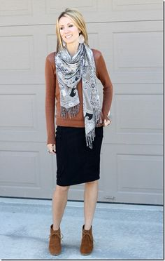 brown, gray, black- scarf, pencil skirt, ankle boots