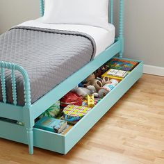 Kids Trundles: Light Blue Storage Trundle in Jenny Lind Collection | The Land of Nod