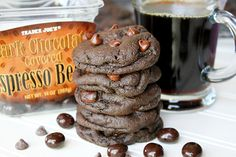 Dark Chocolate Espresso Cookies -- Soft-baked dark chocolate mocha cookies studded with chocolate chips and chocolate covered espresso beans!! For the serious coffee lovers! :)