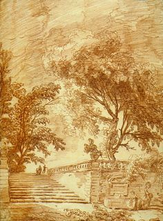 hubert robert - landscape with steps, drawing, red chalk