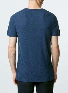 Premium Blue Wool Crew T-shirt - TOPMAN