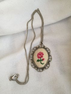 Cross Stitch Necklace Cross Stitch Pendant Necklace Cross