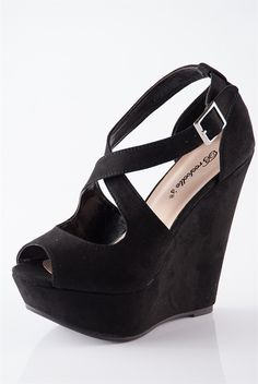 Heads Above Peep Toe Wedges - Black