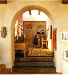 santa fe style entrance -arches and skylights over old doors -   handcrafted collections - Saffron and Silk: Oh Mexico!