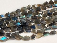 Labradorite Step Cut Faceted Tumbles Blue Fire by gemsforjewels