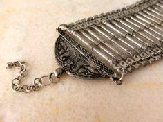 Rustic metal bracelet / vintage Indian jewelry