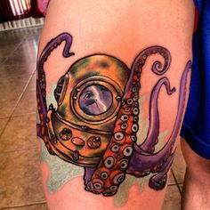 tattoo old school - traditional ink - helmet dive mask octopus