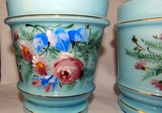 BEAUTIFUL SIGNED CZECHOSLOVAKIA BOHEMIAN PAIR 2 HAND PAINTED VASE ROSES LTE BLUE