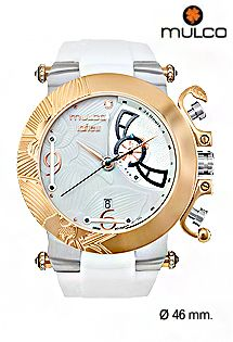 Relojes Mulco colección La Fleur Orquidea, relojes con maquinaria suiza unisex, correa de silicona y detalles en acero. Caja de 46 milímetros de diámetro