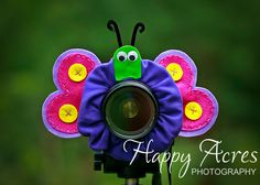 AMAZING idea for photographing kiddos!!! Gives them something fun to look at!! Lens Bling - Purple Butterfly