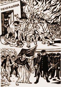 El día 7 de enero en Río Blanco cerca de dos mil operarios agrupados en el Circulo de Obreros Libres se amotinaron frente a la fábrica, le lanzaron piedras e intentaron quemarla pero la policía montada lo impidió, entonces saquearon y quemaron la tienda de raya propiedad de Víctor Garcín, que además era el dueño de otros dos almacenes en Nogales y Santa Rosa. Después los obreros se dirigieron a la cárcel y liberaron a los presos.