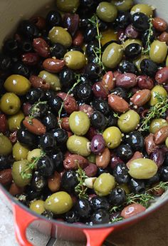 Roasted Olives! Ill have to toast some bread, and have a side of goat cheese for these little babies! Thanks, La Fuji Mama!