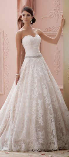 A-Line Wedding Dress | David Tutera for Mon Cheri Spring 2015 Bridal Collection- I love the skirt