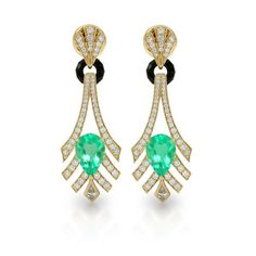 1920`s party accessory: #Muzo #Emeralds earrings with #diamonds and #onxy by @FlorenceKat