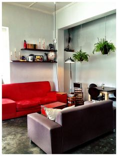 Red Sofa Cafe. Red Sofa, Couch, Furniture, Home Decor, Settee, Decoration Home, Sofa, Room Decor, Red Couches
