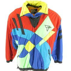 6be643cb7f5 Vintage 80s Tyrolia Head Ski Shell Jacket Mens M Retro Geometric Puffy  Snowboard