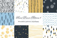 10 Seamless Hand Drawn Patterns v.4 by kloroform on Creative Market
