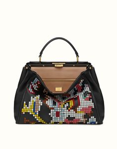 FENDI | LARGE PEEKABOO handbag with multi-colored embroidery