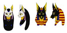 Bastet and Anubis mask by iFierceFang on DeviantArt
