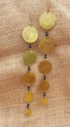 "Michi's Boutique - $12.00 Brass Coin drop earrings made in Kenya. About 6.5"" long."